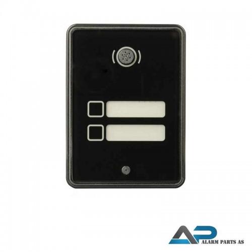 21611 Dørstasjon med herdetglass og 2 knapper