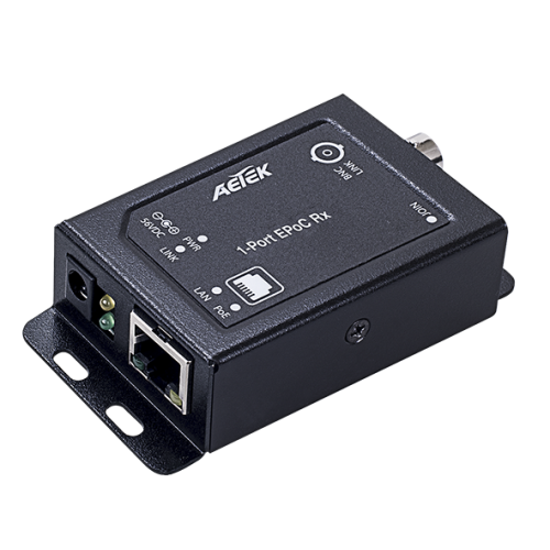 XE10-110-RX innendørs Ethernet over Coax RX adapter + 65W injector