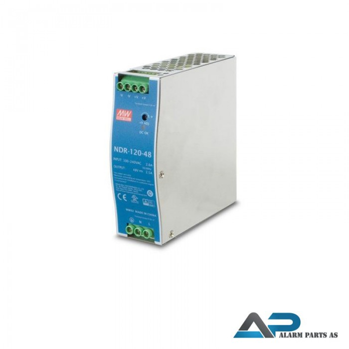 NDR-120-48 Strømforsyning 48-55VDC 120W DIN skinne